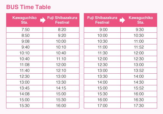 Fuji Shibazakura Festival Shuttle Schedule
