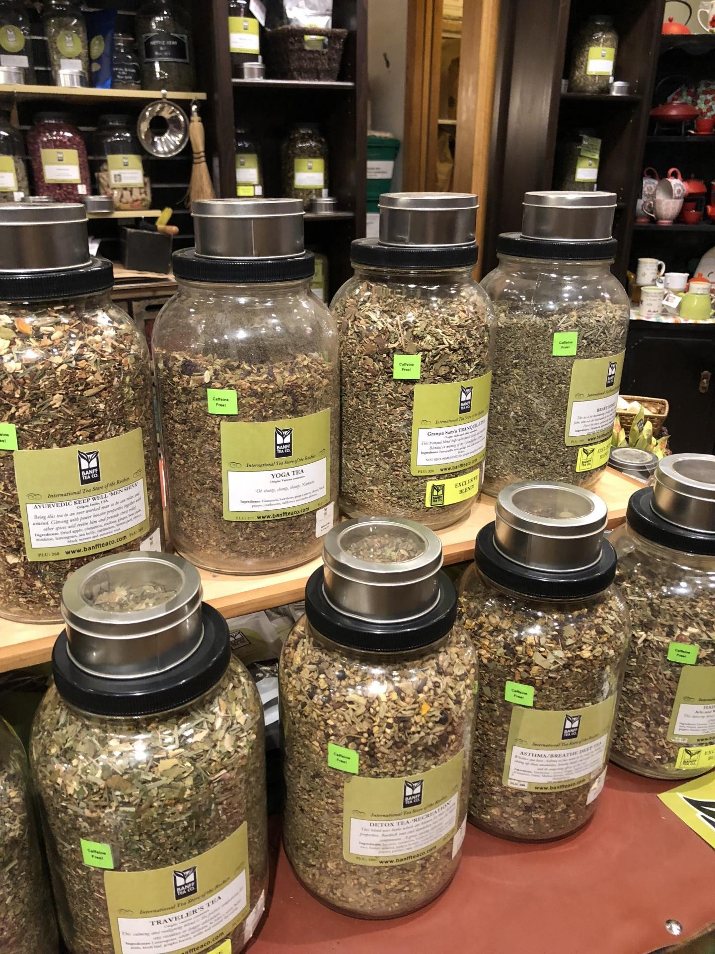 Tea collection at Banff Tea Co.