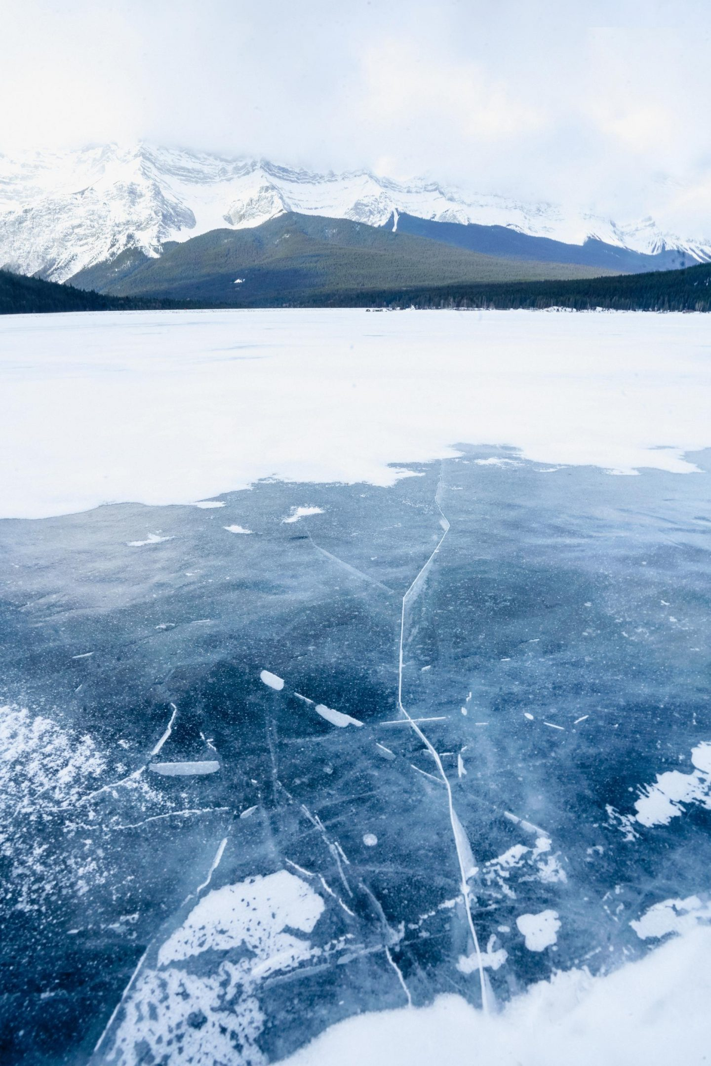 Searching for methane bubbles at Lake Minnewanka.