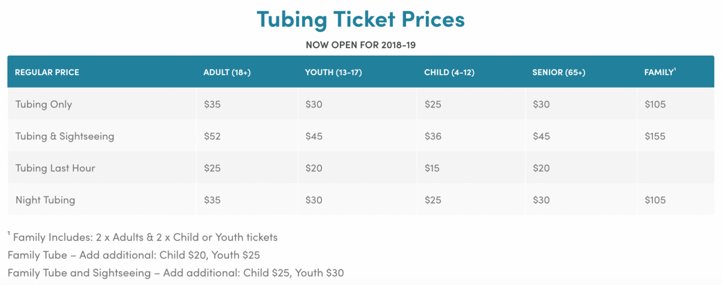 Mount Norquay tubing prices.