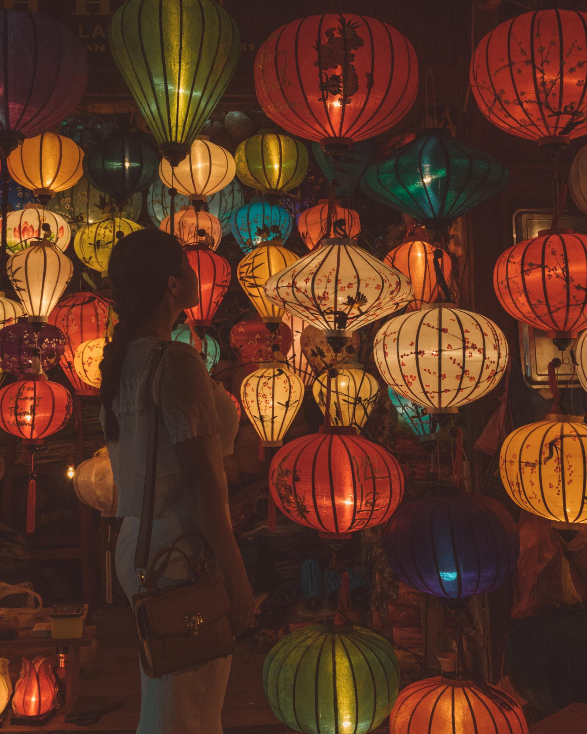 Beautiful Vietnamese silk lanterns at Hoi An Ancient Town.