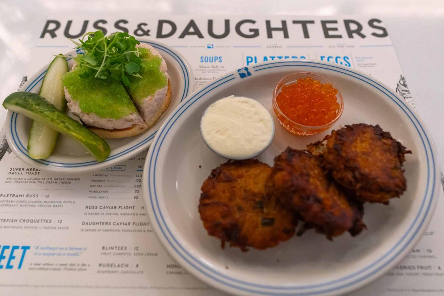 Breakfast at Russ and Daughters Café.