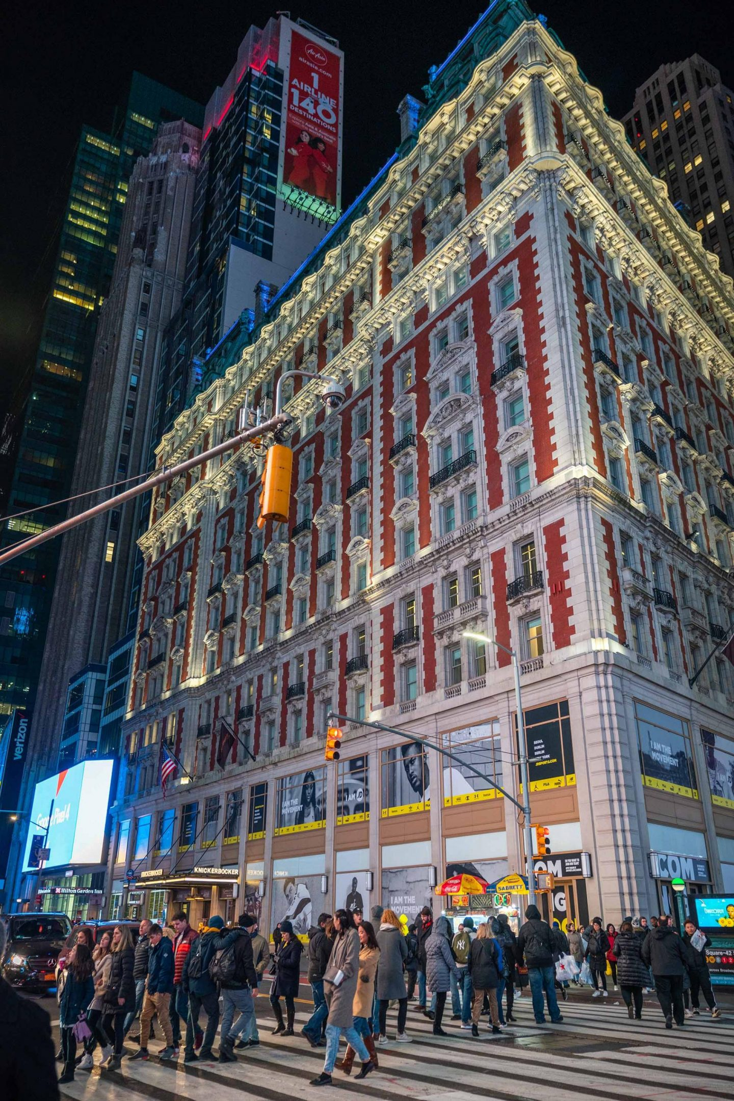 The Knickerbocker Hotel in Times Square.