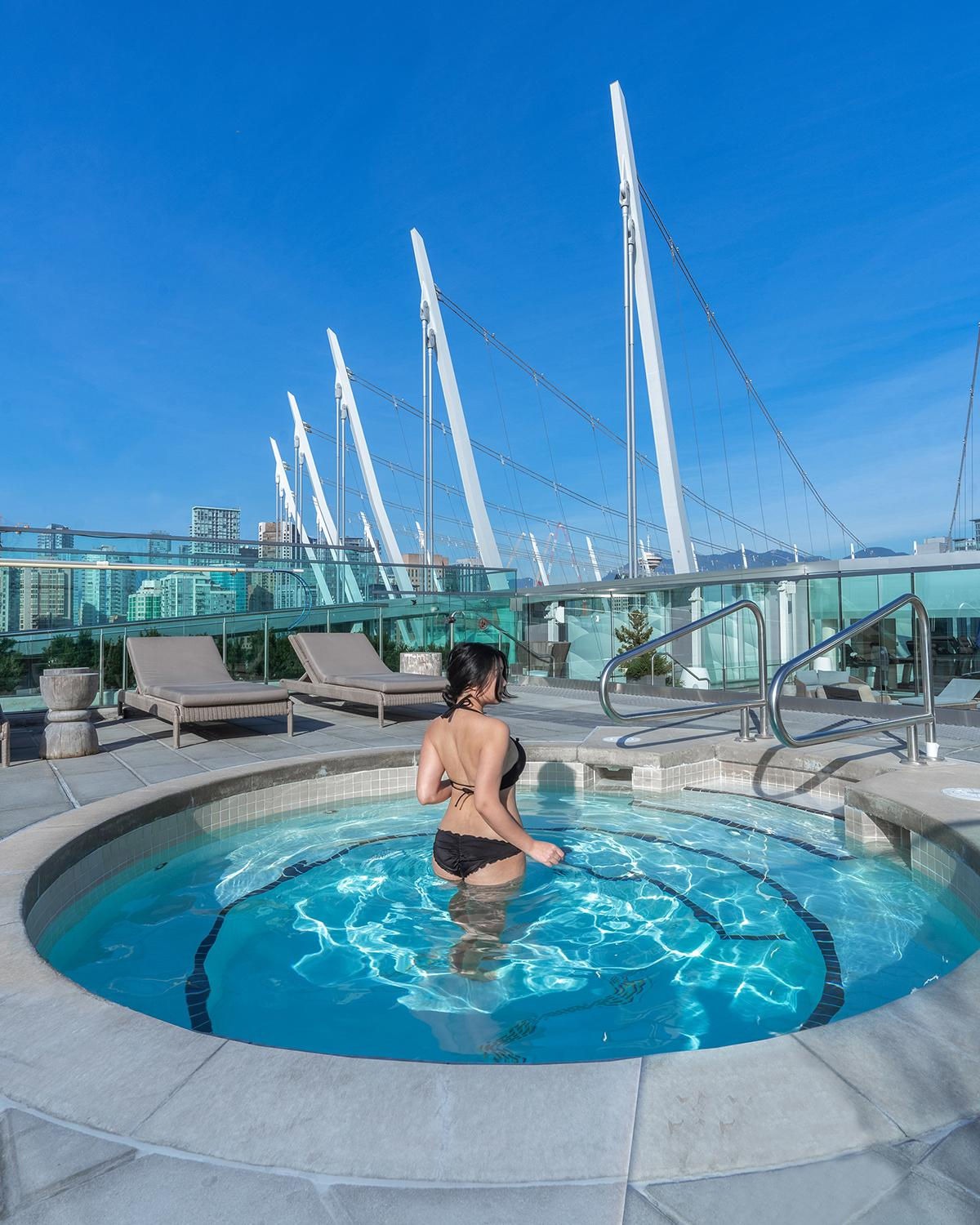 Rooftop heated whirlpool at JW Marriott Parq Vancouver.