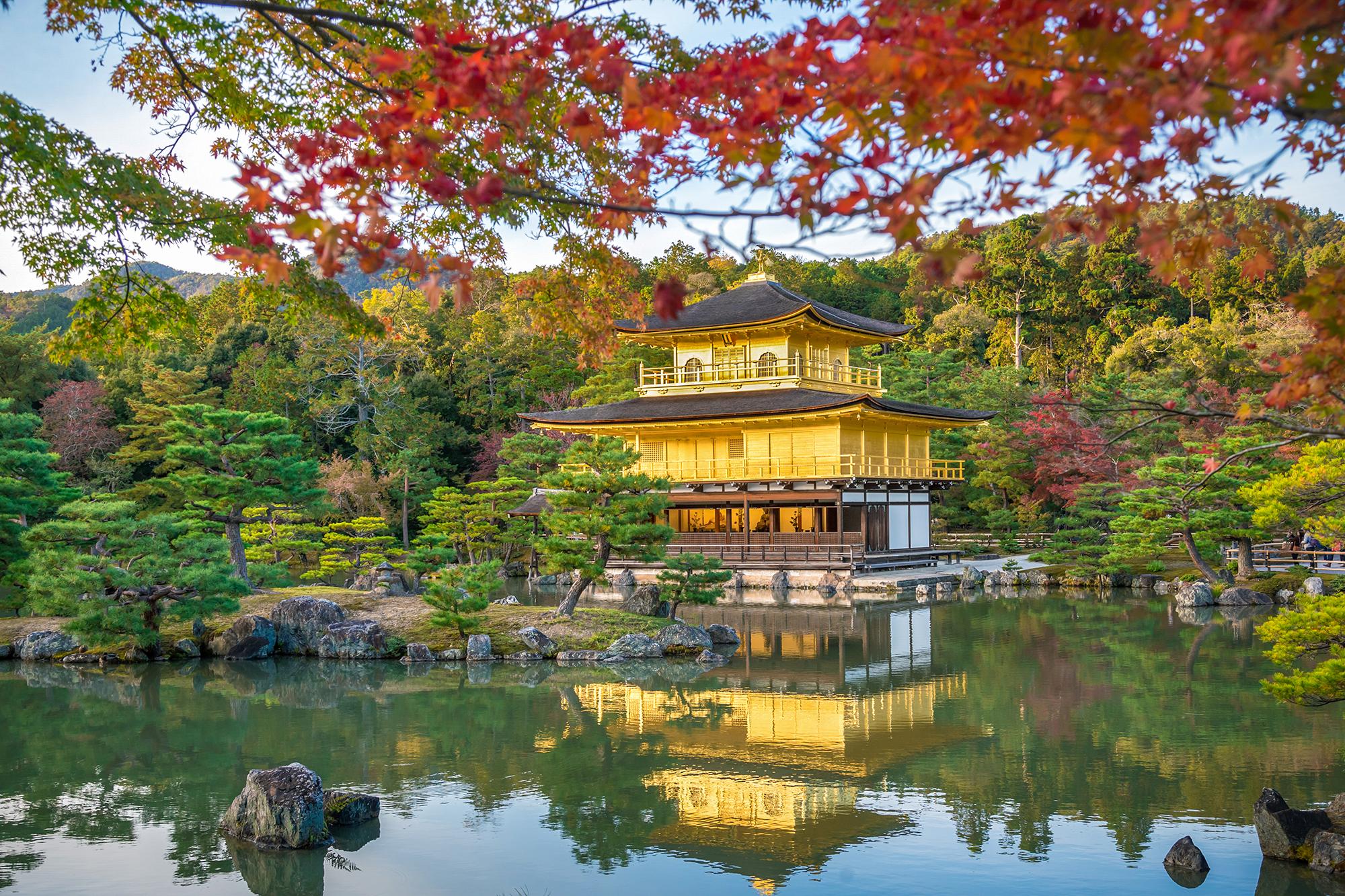 Beautiful fall foliage scene at Kinkaku-ji in Kyoto.