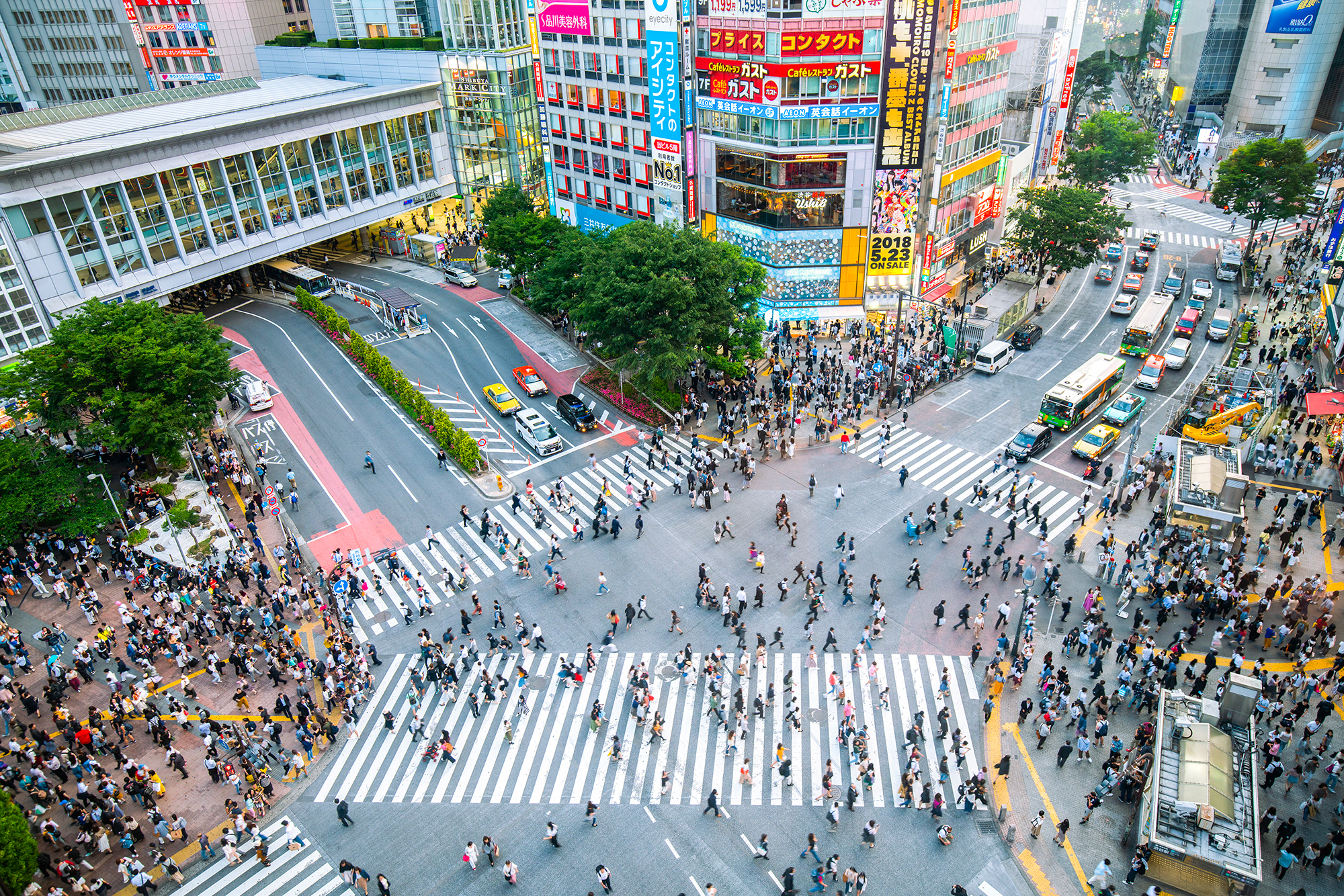 Aerial view of Tokyo's famous Shibuya Crossing.
