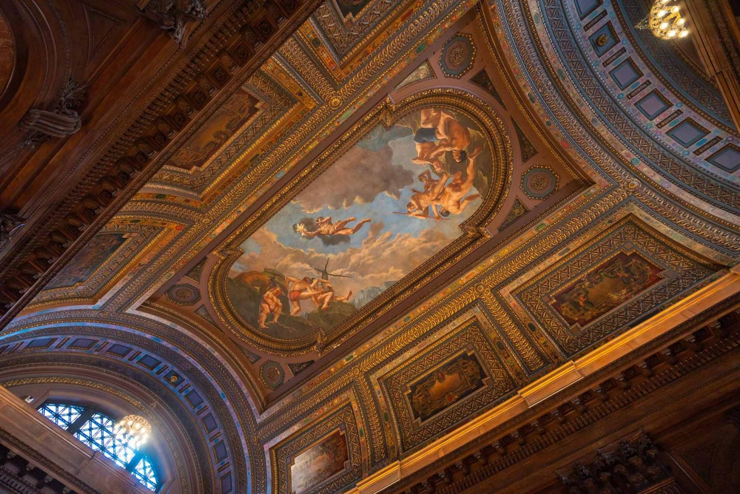 Looking up at The New York Public Library.