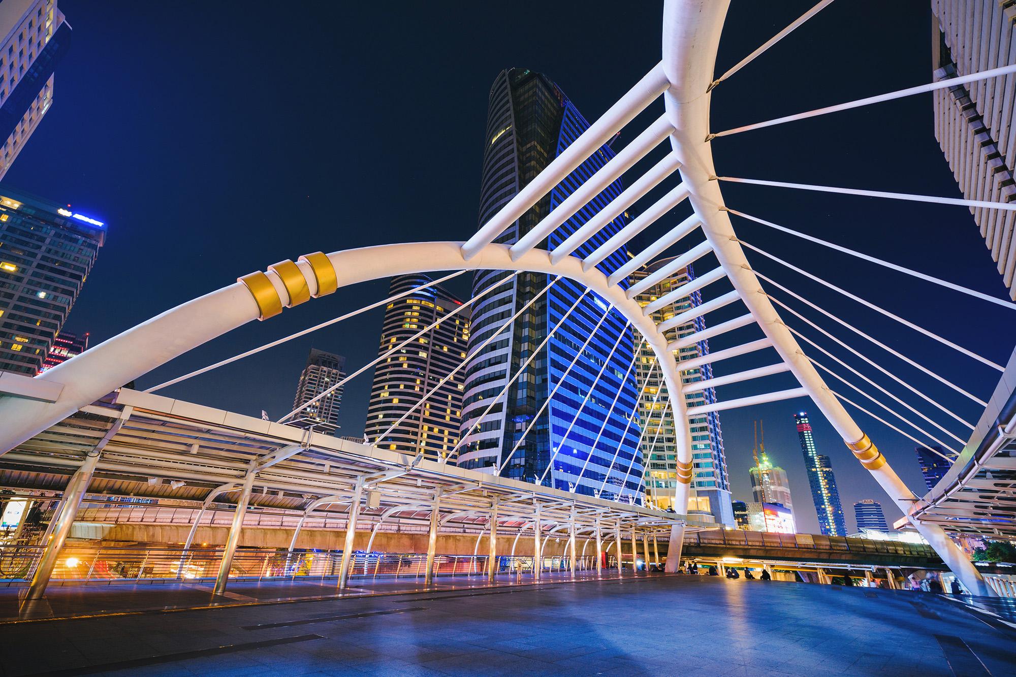 Night time view of Chong Nonsi Pedestrian Bridge.