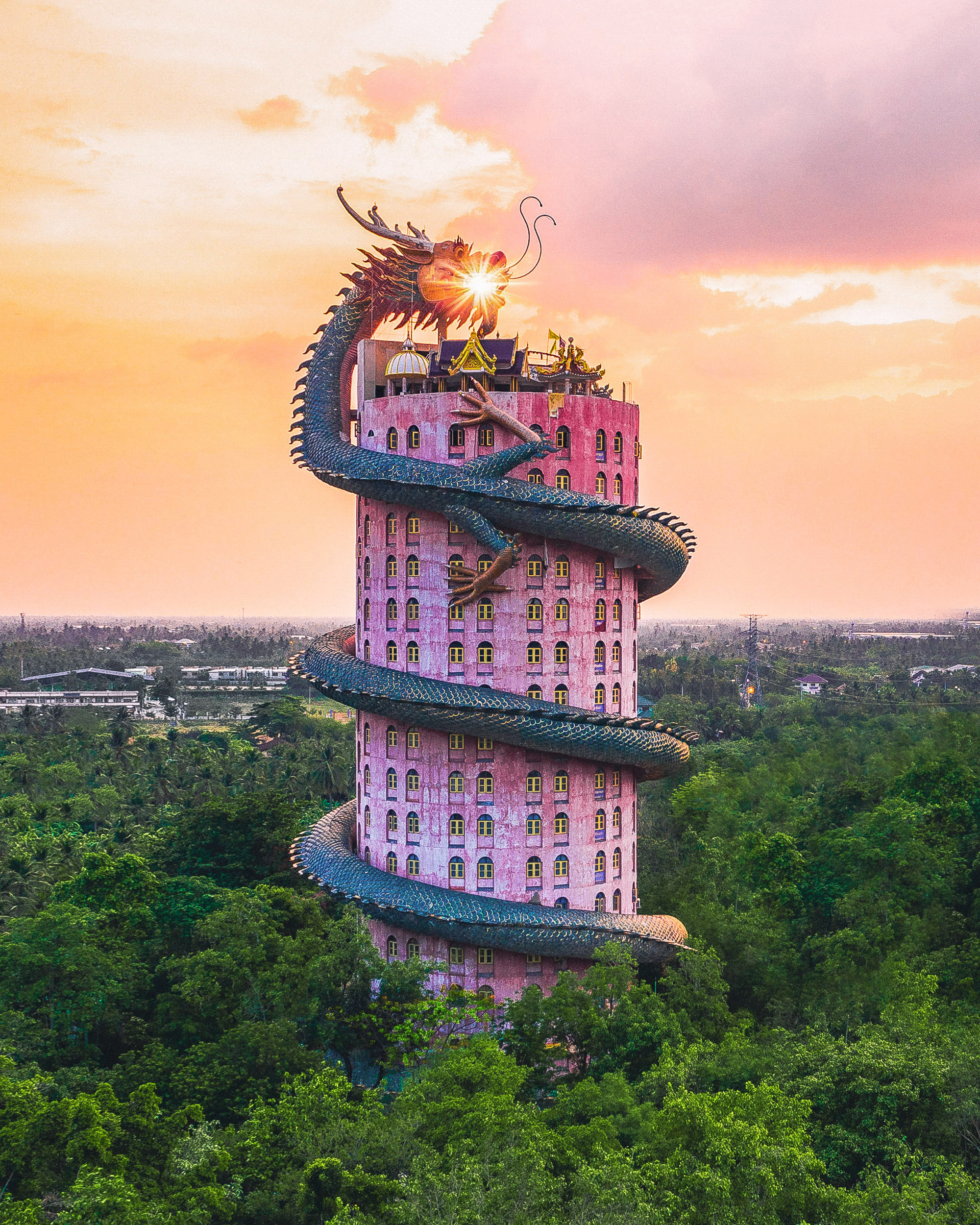 Sunset at Wat Samphran, a.k.a. the Dragon Temple.