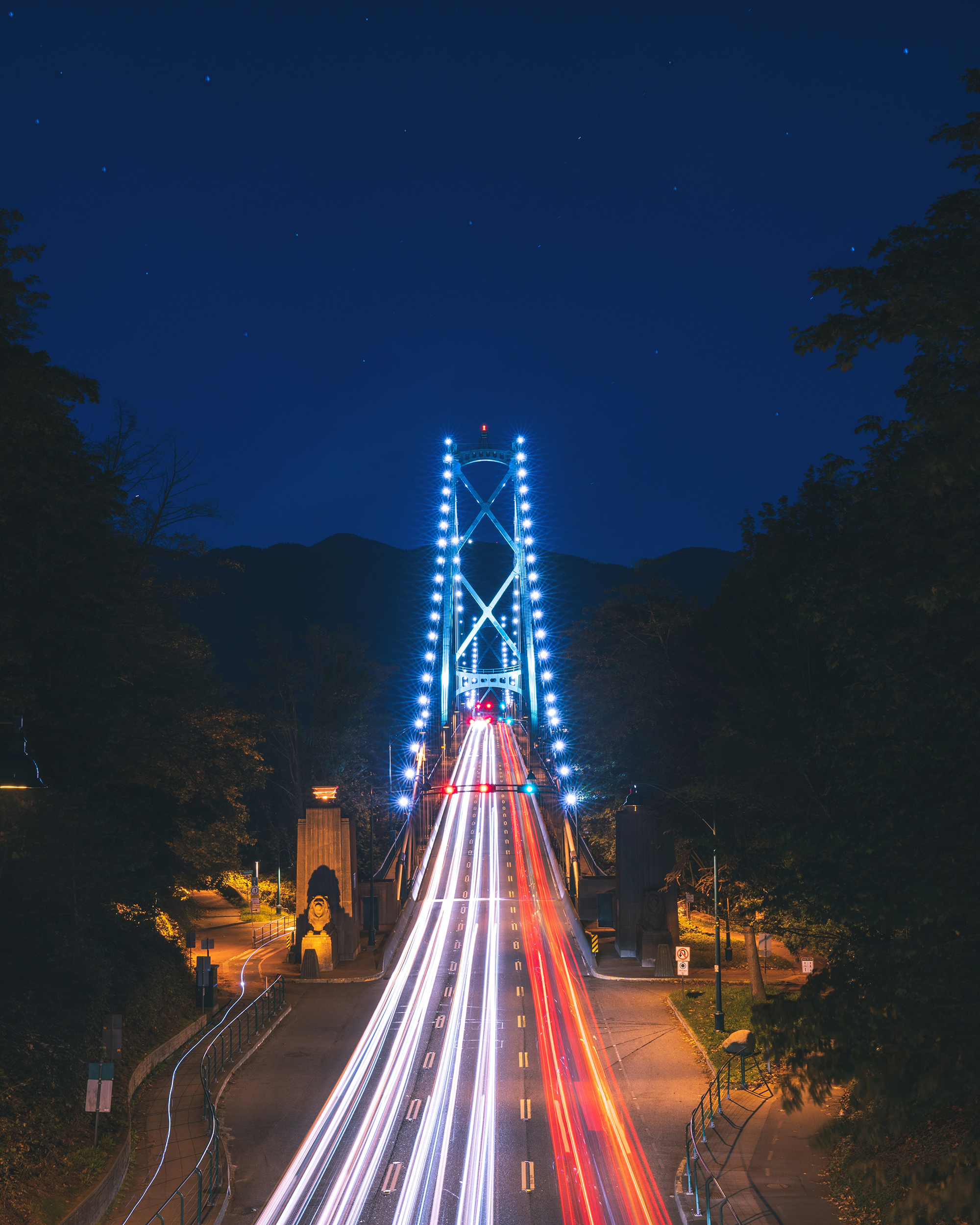 Lions Gate Bridge photographed from Stanley Park.