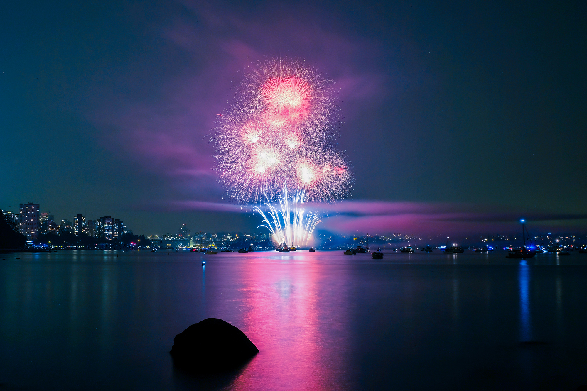 Fireworks seen from Stanley Park.