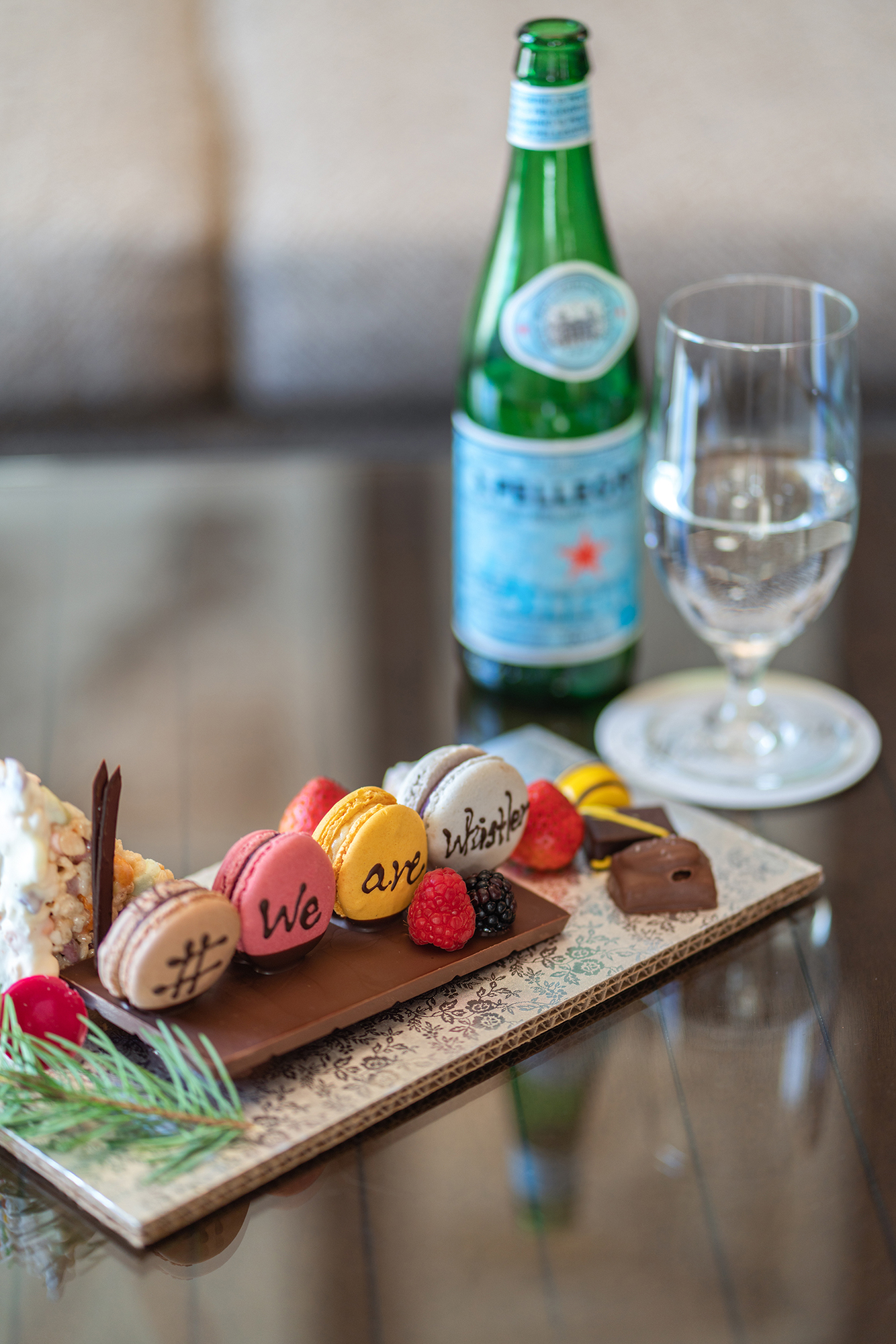 Welcome macarons at Fairmont Chateau Whistler.