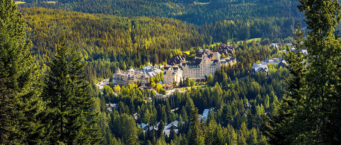 Aerial view of Fairmont Chateau Whistler.