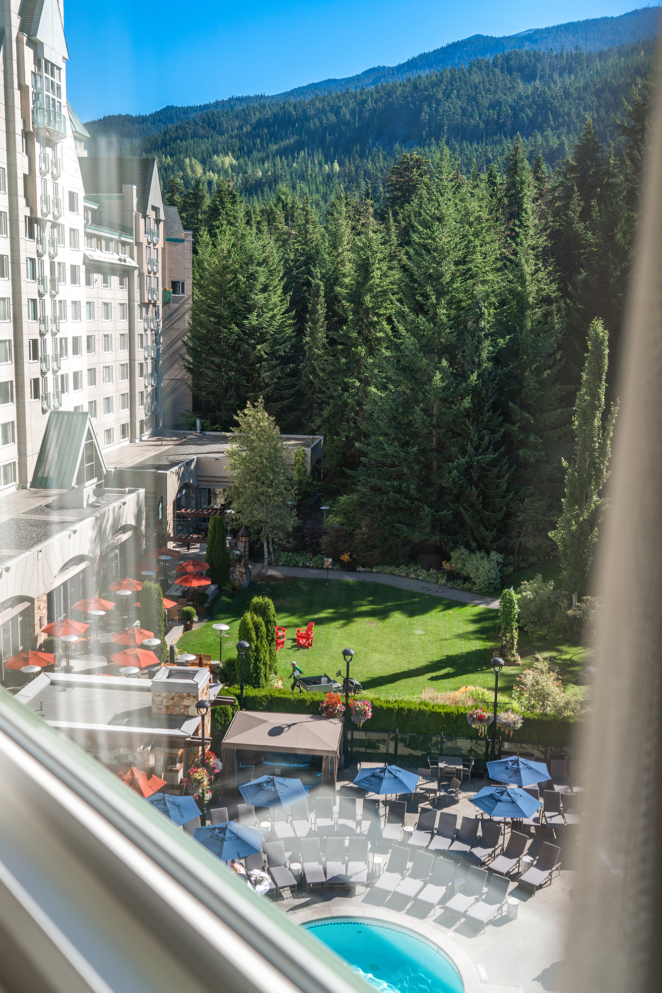 View from Fairmont Chateau Whistler One Bedroom Mountain View Corner Suite.