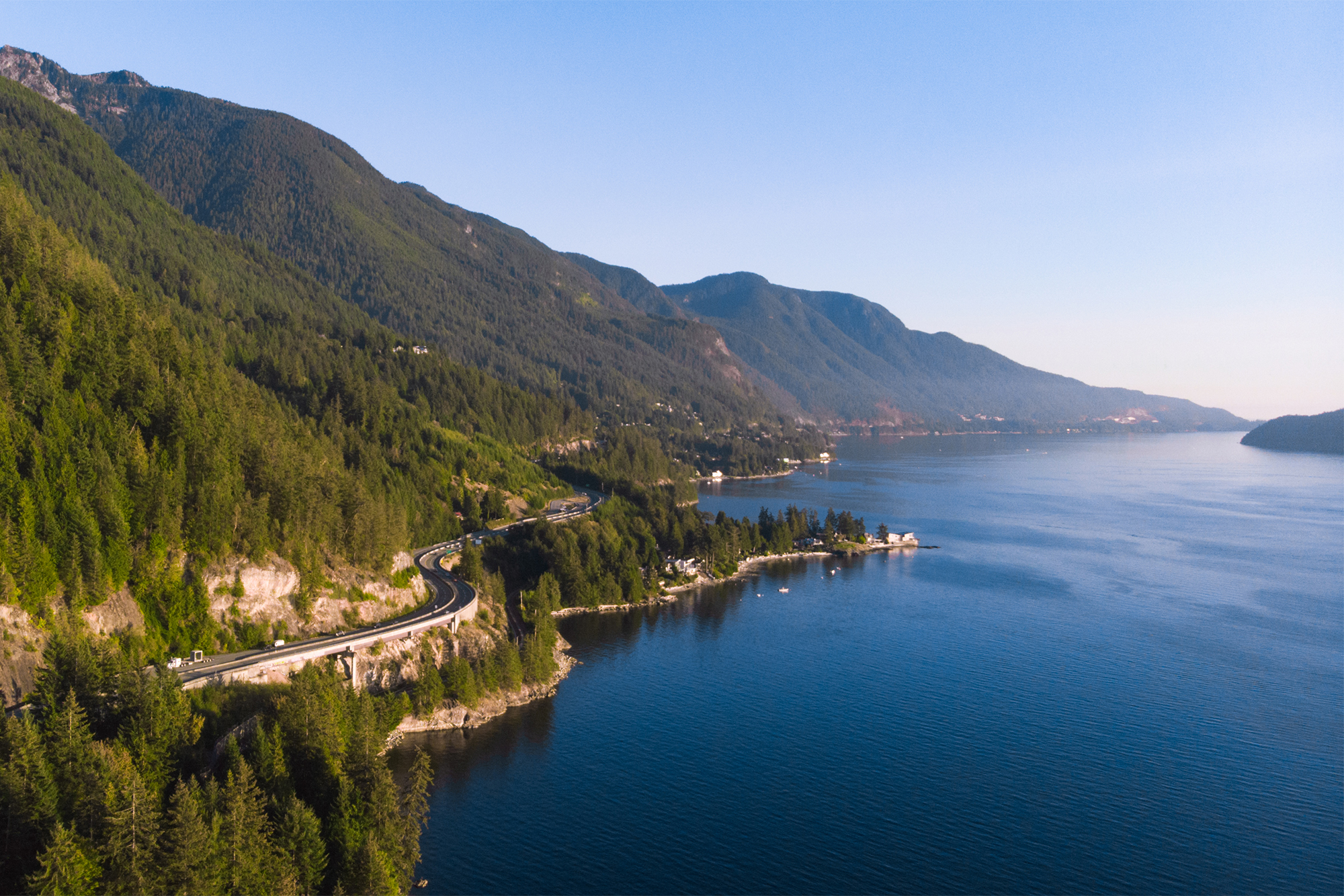 Aerial view of Sea-to-Sky Highway.
