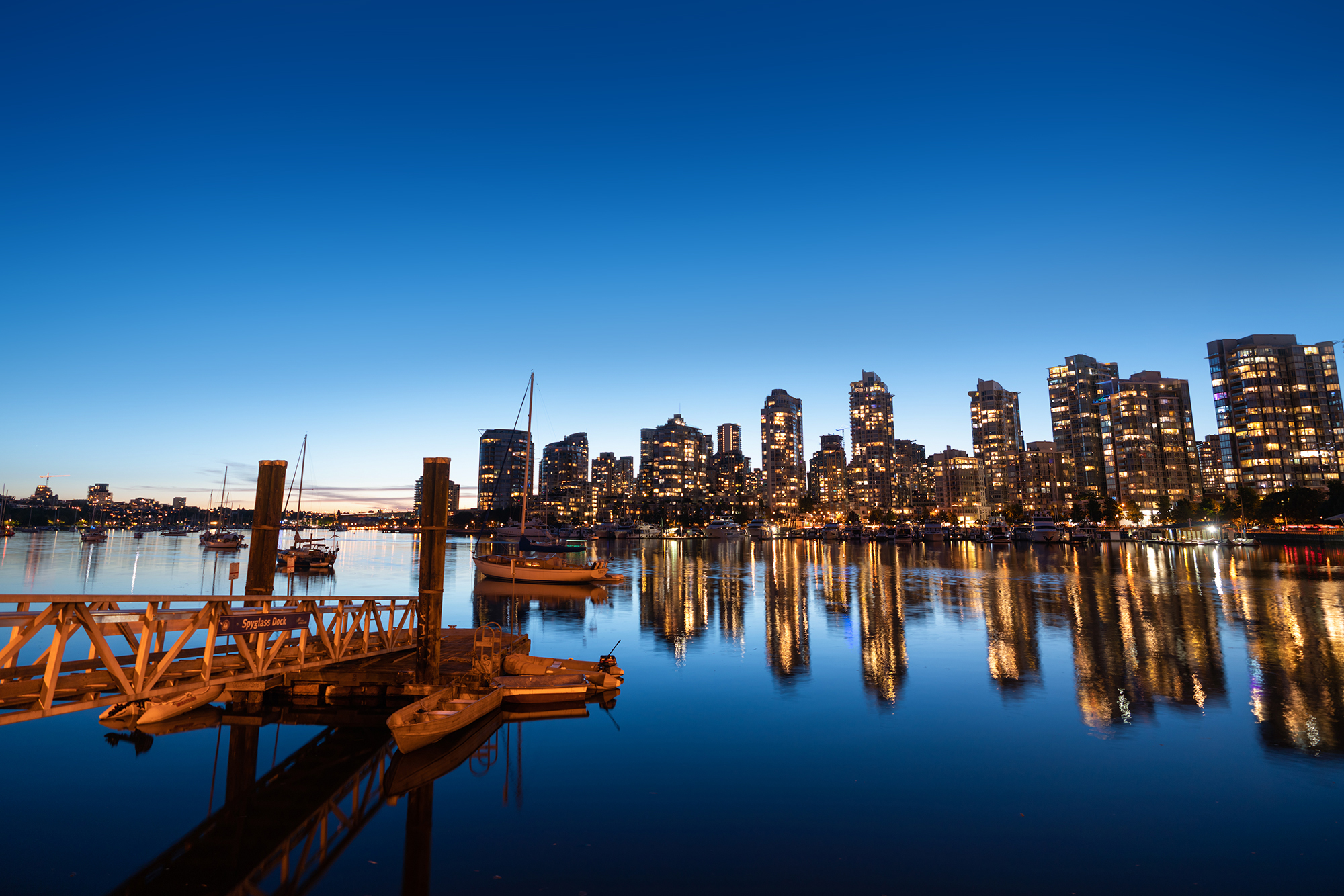 Vancouver at night from Spyglass Dock.