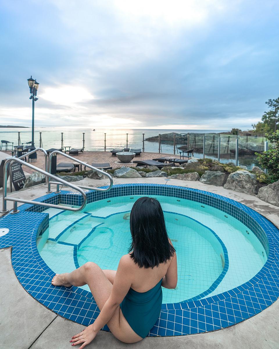 Mineral pools at Oak Bay Beach Hotel.