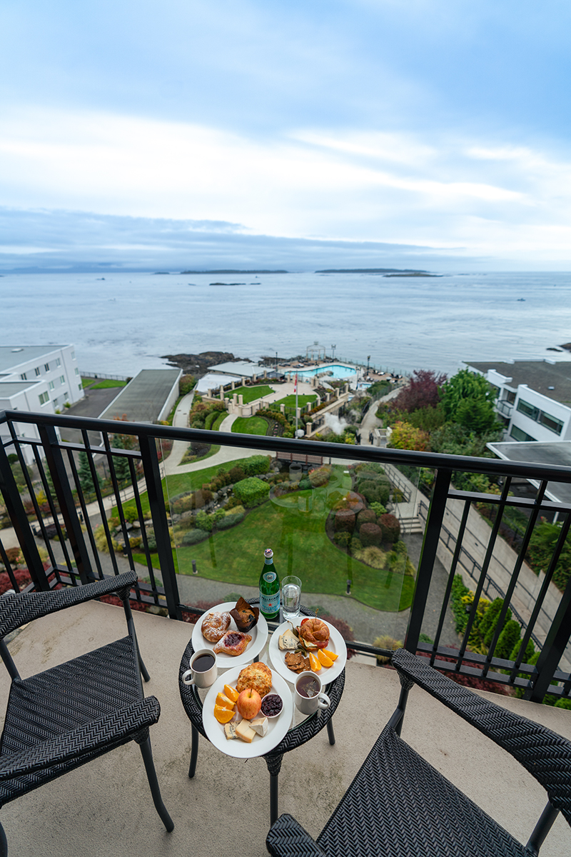 Breakfast with a view at Oak Bay Beach Hotel.